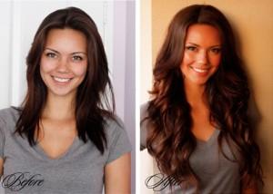 Před a po prodloužení vlasů